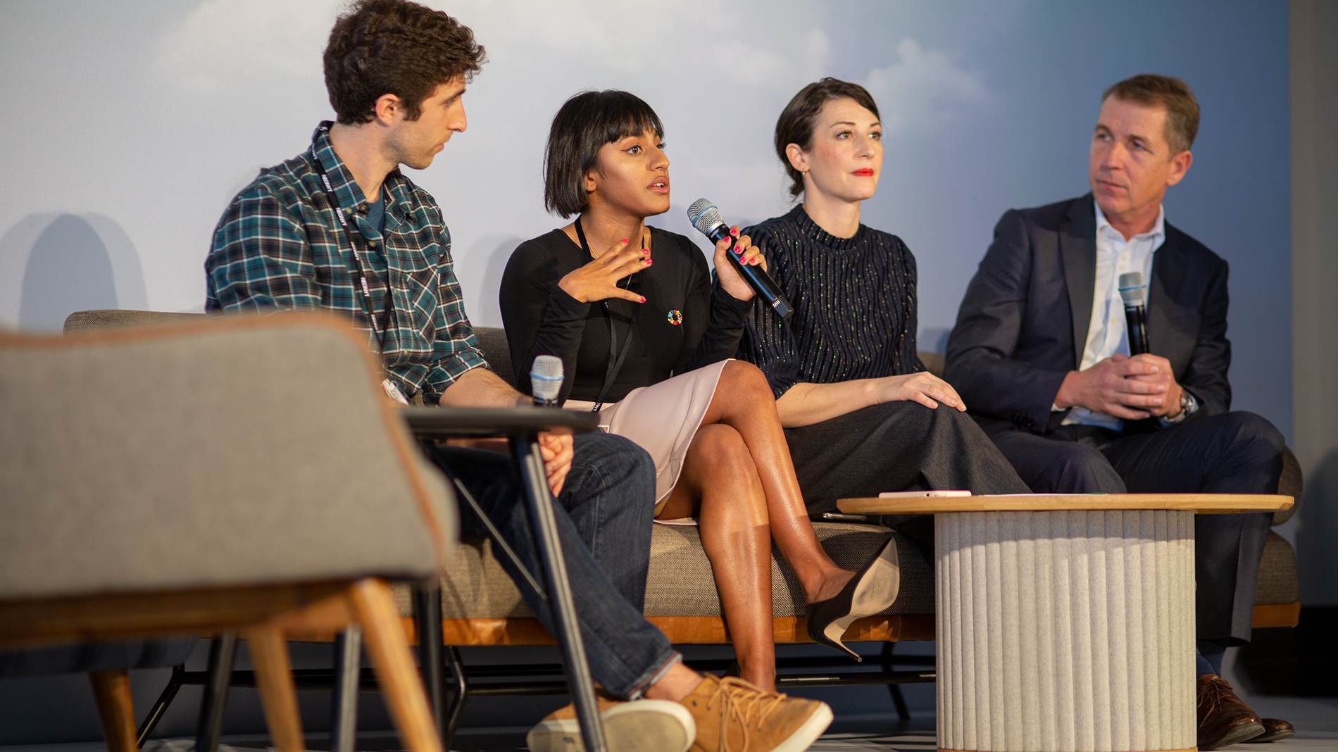 Panel Talk at Neonyt on SDGs and the fashion industry; from left to right: Zachary Angelini (Timberland), Kaira Shetty (Conscious Fashion Campaign), Geraldine de Bastion, Harold Weghorst (Lenzing) / Photo: Messe Frankfurt Exhibition GmbH