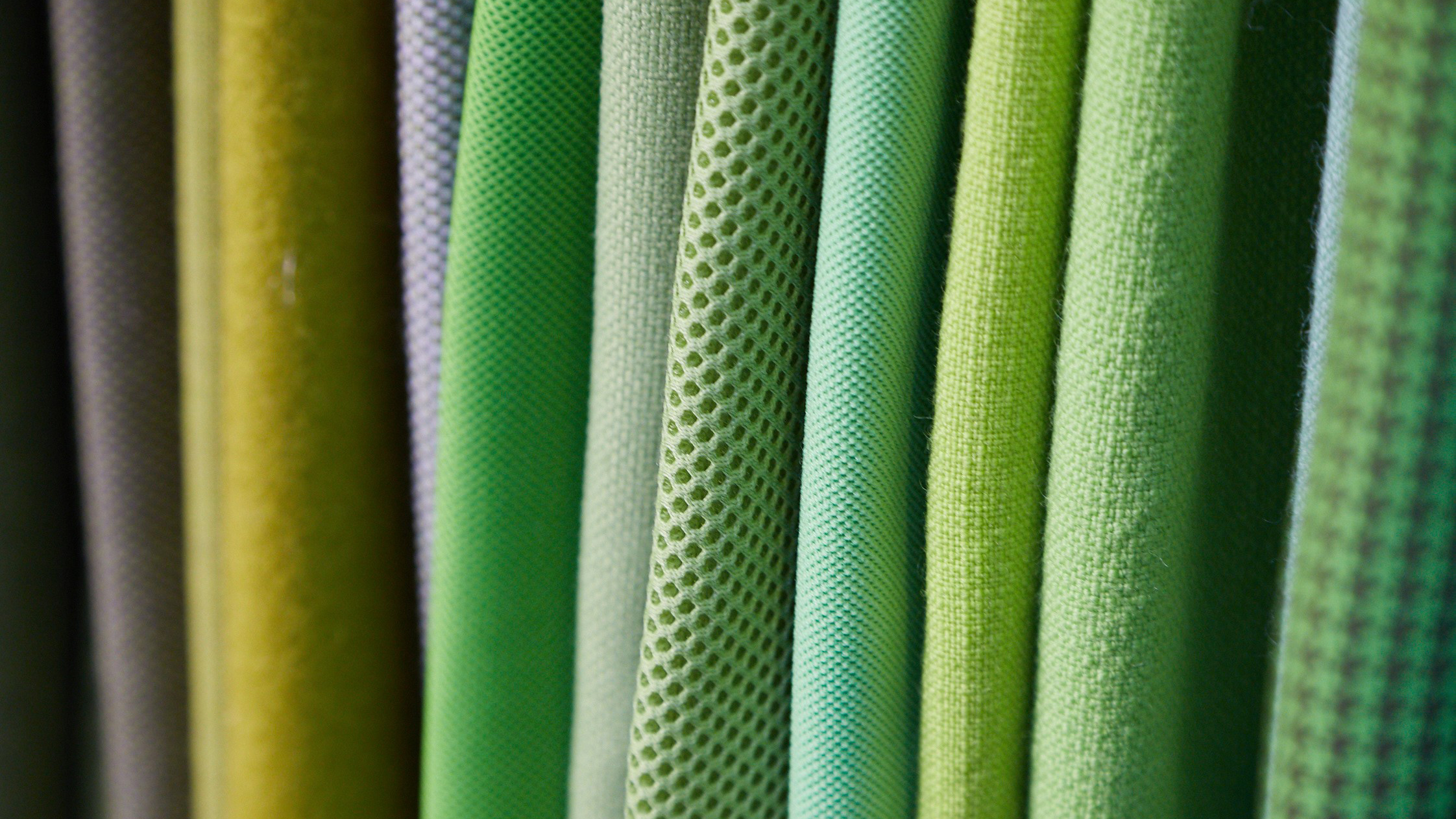 Fabrics in different shades of green